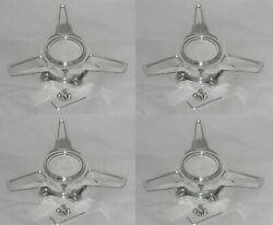 4 - Polished Aluminum U.s. Mags Wheel Rim Center Caps Tribar Knockoff Spinners