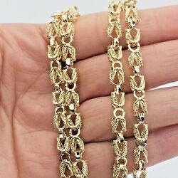 Mens Womens 10k Real Yellow Gold Turkish Link 5mm Chain Necklace 20 Andndash 28 Inches