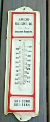 Vintage Metal Real Estate Farm Thermometer Advertising Sign Long Island Ny
