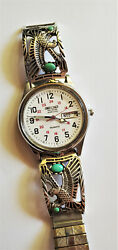 Native American Sterling Eagle Tips Rr Quality Watch Turquoise Carol Felley