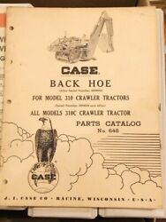 Original Case Backhoe For 310 And 310c Crawler Tractor Parts Catalog 648