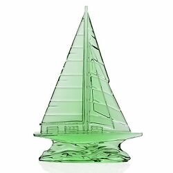 Waterford Crystal Tall Light Green Sailboat Sculpture 9 New In Box 40029117