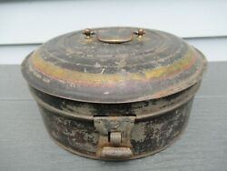 Antique 19th Century Round Tole Spice Box With 6 Spice Tins