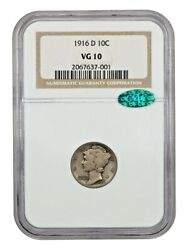 1916-d Mercury Dime Ngc Vg/f-10 Cac Very Pleasing Coin And 20th Century Rarity