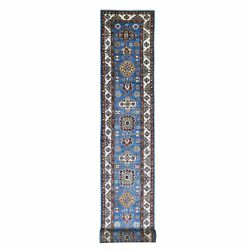 2and0399x24and03910 Super Kazak Pure Wool Light Blue Hand Knotted Xl Runner Rug G68283