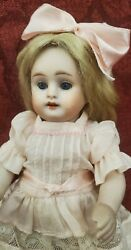 Antique German All Bisque Kester 150 Large 7 Doll Sleep Blue Eyes Open Mouth
