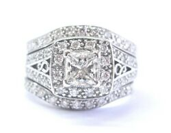 Fin Princesse And Diamant Rond Large Milgrain Fianandccedilailles Wg Bague 1.35ct