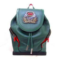 Auth Christian Louboutin Explorer Funk Backpack Green Black Red Leather