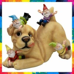 Dog Gnome Garden Statue Playing With Gnomes Sculpture 9 In Teresa's Collections