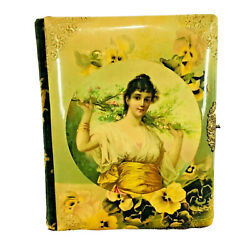 1800and039s Antique Victorian Photo Album Celluloid And Velvet Brass Ornate Closure
