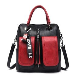 Women Luxury Backpacks Girl Casual Bags Red And Black Shoulder Travel Backpack $37.98