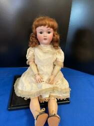 """Antique Heinrich Handwerck 25"""" German Doll With Antique Clothing And Stand"""