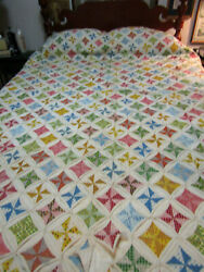 Vintage Cathedral Window Quilt 82 X 96 Ca 1970's, Multi-color, Queen / King