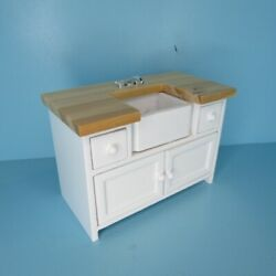 Dollhouse Miniature Wood Oak And White Farm House Sink With Cabinets T2613