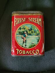Vintage Forest And Stream Pocket Tobacco Tin W/ Fishing Creel Top