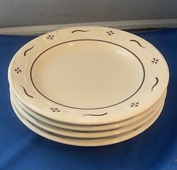 """Longaberger Pottery Woven Traditions- 4 Traditional Red 7 1/4"""" Salad Plates-usa"""