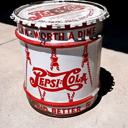 Vintage 5-gallon Pepsi Cola Syrup Can With Lid 17 X 15 Inches