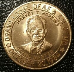 1984 Maryland Masonic Medal Grand Lodge A.f. And A.m. Coin Harvey T Hopkins Token