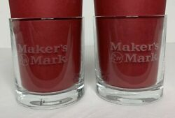 Makers Mark Etched Kentucky Bourbon Whiskey 2 Low Ball Rocks Glasses 8 Oz Gift