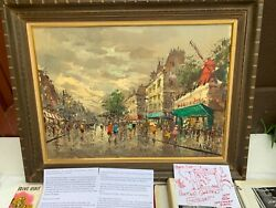 Rare Signed French Paris Oil Painting Vintage W Photo Album Of France Trip 1950s