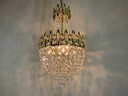 Antique Crystal Chandelier Gold And Brass Chandelier Ceiling Lamp Lighting 1950
