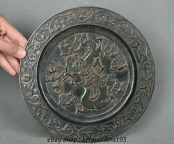 9 Marked Chinese Natural Jasper Hand-carved Fly Dragon Spirit Plate Tray Dish