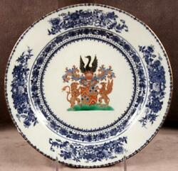18th C Chinese Export Armorial Plate For Dutch Market Jonge Qianlong Period 37