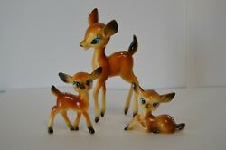 Vintage Plastic Deer Mom With Babies Hong Kong World Wide Flowers Retro Toys