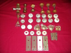 Vintage Door Knobs Brass Porcelain Glass Knobs Includes Plates Added Items