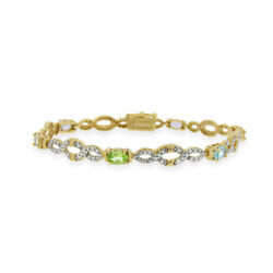 18k Over Sterling Silver Multi Gemstone And Diamond Accent Infinity Bracelet