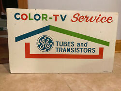Vintage Ge Tv And Radio Repair Porcelain Flange Sign / Mid Century / Doubled-sided