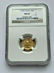1990 Gold American Eagle Ngc Ms 69 1/10 Oz Gold 5 Dollar Coin