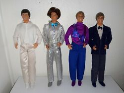 4 X Vintage Barbie Ken Dolls With Full Outfits