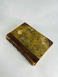 1866 Shakespeare Antique Leather Bound Book Marbled End Pages Hubbed Spine