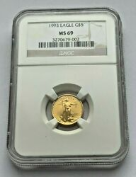 1993 Gold American Eagle Ngc Ms 69 1/10 Oz Gold 5 Dollar Coin