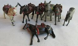 Vintage Lot Of Carriage Donkeys And Other, Farm Animals Lead Figures, Argentine