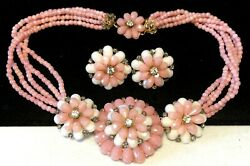 Miriam Haskell Necklace Earrings Rare Vintage Signed Gilt Pink Milk Glass A41