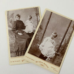 Antique Cabinet Card Photo Lot Adorable Child On Swing Mother Odd Ottawa Il