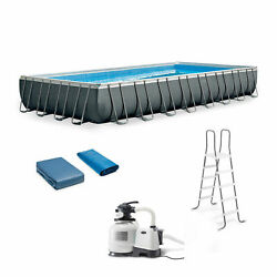 Intex 26373eh 32and039 X 16and039 X 52 Rectangular Ultra Xtr Frame Swimming Pool W/ Pump