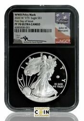 2020 W V75 Silver Eagle Wwii Privy Mark Ngc First Day Of Issue Pf70 Mercanti L