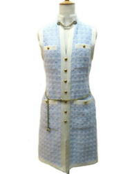 Dress Women S 36 Light Blue Cotton Tweed With Belt Authentic Shippingfree