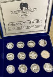 Fund For Endangered Wildlife Silver Proof Set Of 24 1990 Cook Islands 50 Coins