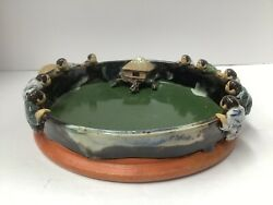 Sumida Pottery Bowl. 9 3/4andrdquo Diameter. 10 Persons On The Rim. Antique Japan