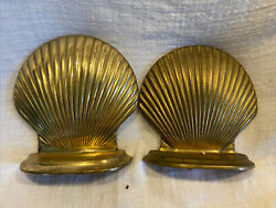 Pair Of Hand Crafted Brass Bookends Scallop Shell Design Close Match Not Exact