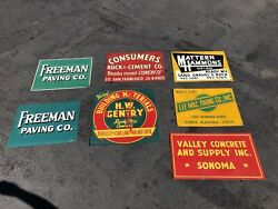 Collection Of 7 Vintage California Rock Paving Cement Concrete Metal Signs