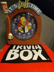 Homer Simpson Duff Beer Clock And The Simpsons Game Trivia Box-game Night Cl Works