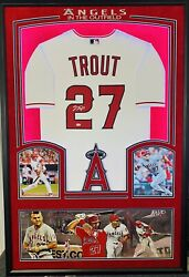 La Angels 27 Mike Trout Signed Autographed Framed Authentic Baseball Jersey