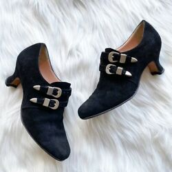 Anyi Lu Black Suede Buckle Detail Shoes Size 36