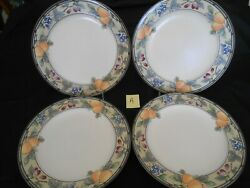 4 Mikasa Garden Harvest Dinner Plates 11 1/8 Excellent, Free Shipping Lot A