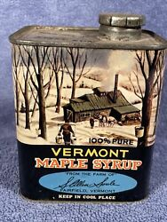Vintage Vermont Maple Syrup Tin Can Advertising Fairfield Farms 1 Quart Full